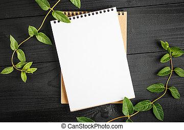 緑, 黒い背景, ノート, 木製である, 葉