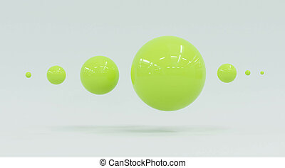 緑, 3d, 球, render, グロッシー, 抽象的, レモン, 背景, 白い表面, 光沢がない, イラスト