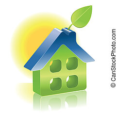 緑, 3d, 葉, アイコン, 家