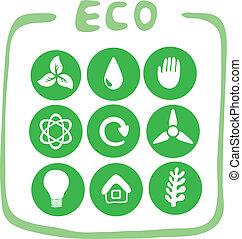 緑, 9, コレクション, eco-icons