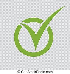 緑, checkmark, icon.