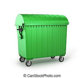 緑, dumpster., イラスト, 3d