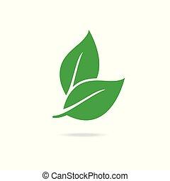 緑, eco, アイコン, leaf.