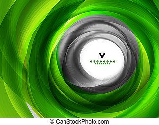 緑, eco, 渦巻, 抽象的なデザイン, テンプレート