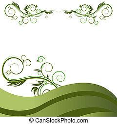 緑, flourishes, つる, 背景, 波