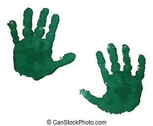 緑, handprints, 隔離された, 白