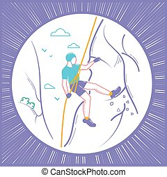 線である, アイコン, 登山家, スタイル