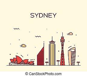 線である, イラスト, スカイライン, ベクトル, シドニー, 最新流行である