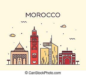 線である, イラスト, モロッコ, スカイライン, ベクトル, 最新流行である