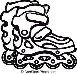 線である, イラスト, 黒, skates., 白, ローラー