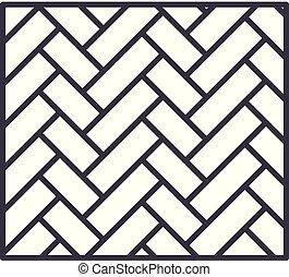 線である, イラスト, concept., シンボル, ベクトル, 寄せ木張りの床, 線, 印, アイコン