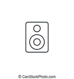 線である, シンボル, ベクトル, スピーカー, 薄くなりなさい, subwoofer, 線, icon.