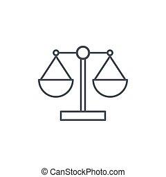 線である, スケール, 正義, シンボル, シンボル, ベクトル, 薄いライン, 法律, icon.