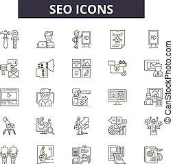 線である, セット, アイコン, イラスト, 概念, ベクトル, seo, 線, サイン, アウトライン