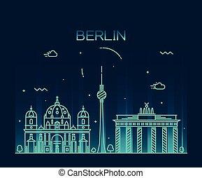 線である, ベルリン, イラスト, スカイライン, ベクトル, 最新流行である