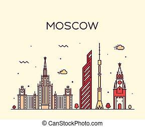 線である, モスクワ, イラスト, スカイライン, ベクトル, 最新流行である