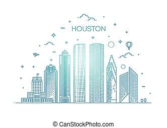 線である, 合併した, ベクトル, houston, イラスト, 都市, style., スカイライン, テキサス, 州