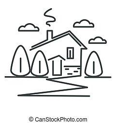 線である, 家, 郊外, 隔離された, 村, コテッジ, ∥あるいは∥, アイコン