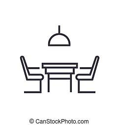 線である, 椅子, 隔離された, シンボル, 印, ベクトル, 背景, アイコン, テーブル, 台所
