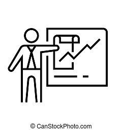 線である, 概念, アウトライン, シンボル。, アイコン, ミーティング, 印, ベクトル, 議題, 線, イラスト
