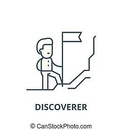線である, 発見者, 概念, シンボル, 印, ベクトル, アイコン, 線, アウトライン