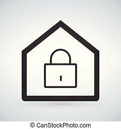 線である, 錠, 現代, 隔離された, イラスト, バックグラウンド。, ベクトル, アイコン, 家