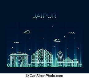 線である, jaipur, イラスト, スカイライン, ベクトル, 最新流行である