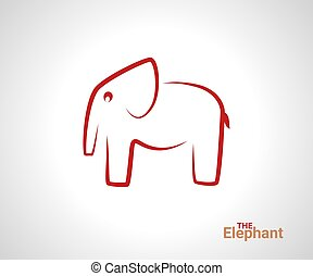 線である, logotype., 創造的, 動物, 象, ロゴ, logo., アウトライン