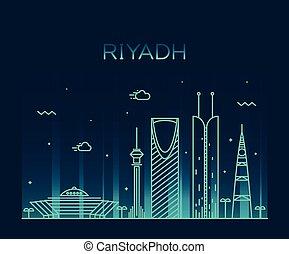 線である, riyadh, イラスト, スカイライン, ベクトル, 最新流行である
