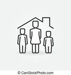 線性, 圖象, 婦女, 在下面, 矢量, 房子, 屋頂, 孩子, 二