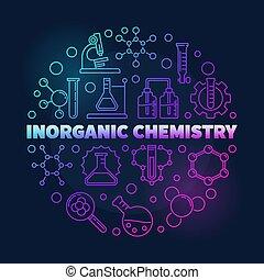 線性, 鮮艷, 插圖, 矢量, inorganic, 化學, 輪