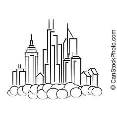線画, の, 都市の景観