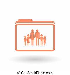 線画, アイコン, 隔離された, フォルダー, 家族, pictogram, 大きい