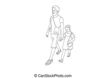 線画, 父, 歩くこと, デザイン, ミニマリスト, 彼の, 娘, 黒