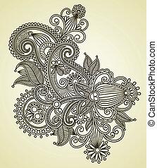 線画, 華やか, 花, デザイン