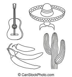 線画, 黒い、そして白い, 4, メキシコ人, elements.