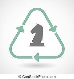 線藝術, 再循環, 簽署, 圖象, 由于, a, 騎士, 國際象棋, 圖