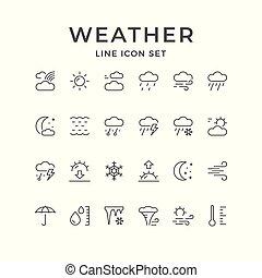 線, アイコン, セット, 天候