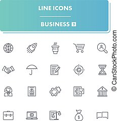 線, アイコン, ビジネス, set., 2