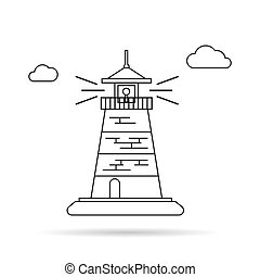 線, アイコン, 灯台, 薄くなりなさい