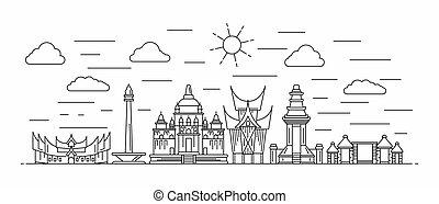 線, インドネシア, パノラマ, スタイル