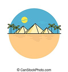 線, エジプト人, イラスト, ピラミッド