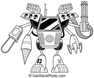 線, キラー, 芸術, ロボット