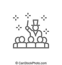 線, ショー, サーカス, 魔法使い, 提出者, icon., 公衆