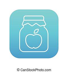線, ジャムジャー, アップル, icon.