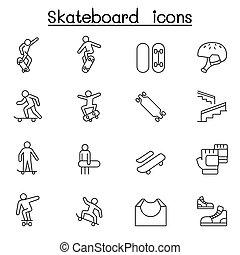 線, スケートボード, スタイル, セット, 薄くなりなさい, アイコン