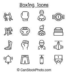 線, スタイル, セット, ボクシング, 薄くなりなさい, アイコン