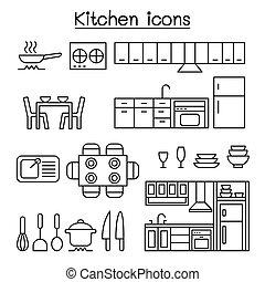 線, スタイル, セット, 台所, 薄くなりなさい, アイコン