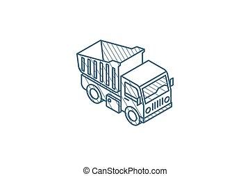 線, ストローク, icon., トラック, テクニカル, ベクトル, ゴミ捨て場, 芸術, 等大, drawing...