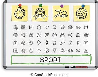 線, スポーツ, 図画, icons., 手